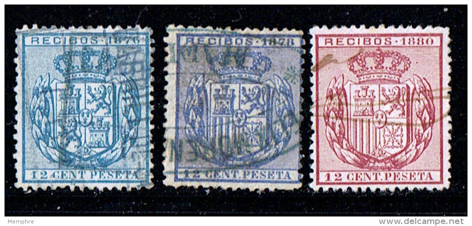 3 Sellos De Recibos  1876 - 1880 - Fiscales