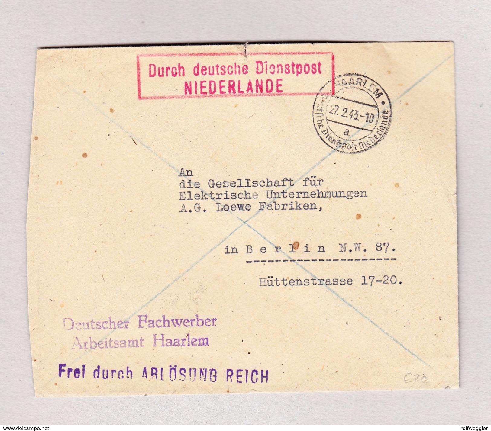 """Niederlande HAARLEM 27.2.1943 Brief Nach Berlin Mit Rot Im Kasten """" Durch Deutsche Dienstpost Niederlande"""" - Marcofilie - EMA (Print Machine)"""