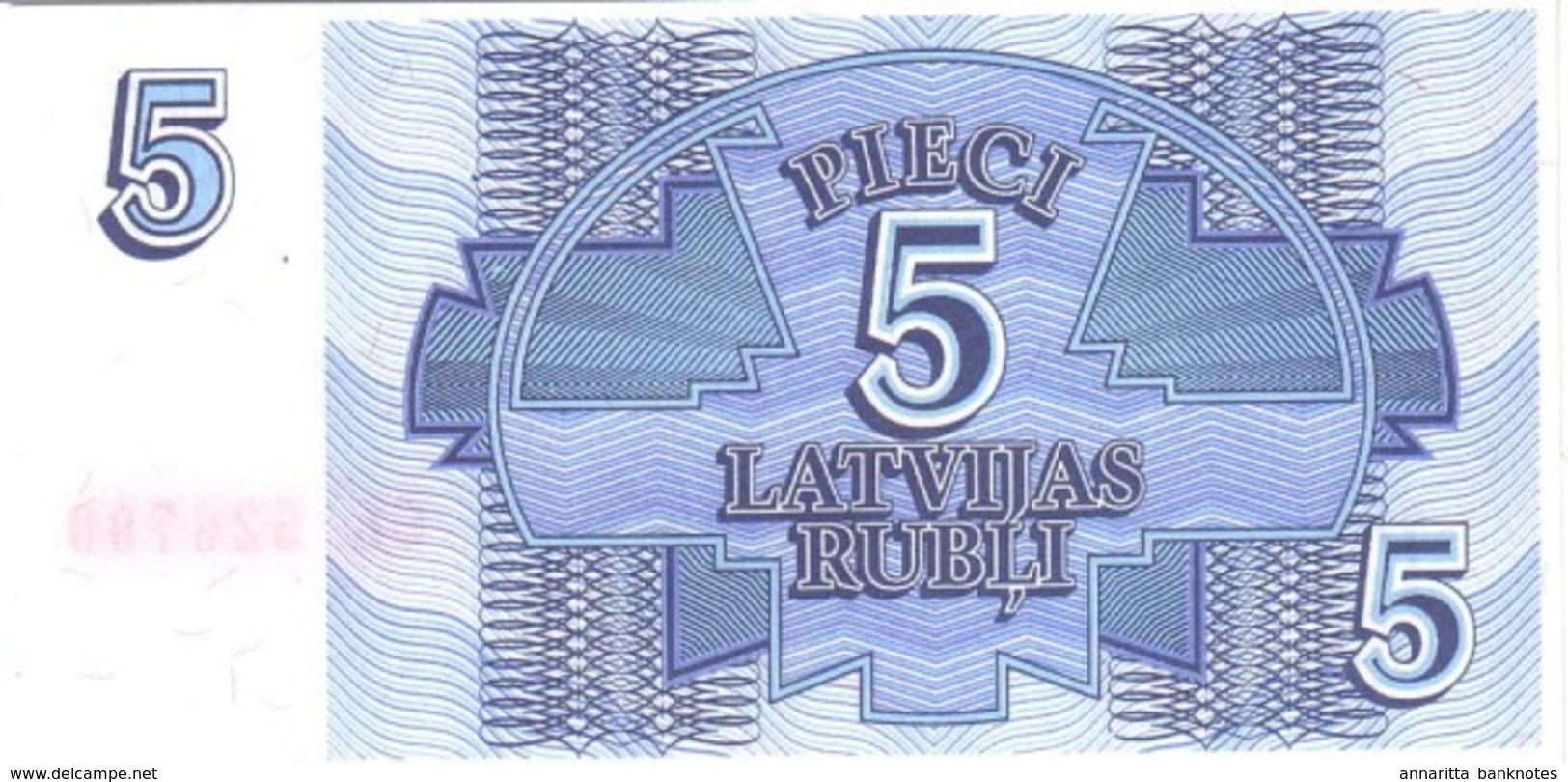 LATVIA 5 RUBLI 1992 P-37 UNC RARE !  [LV218a] - Lettonie