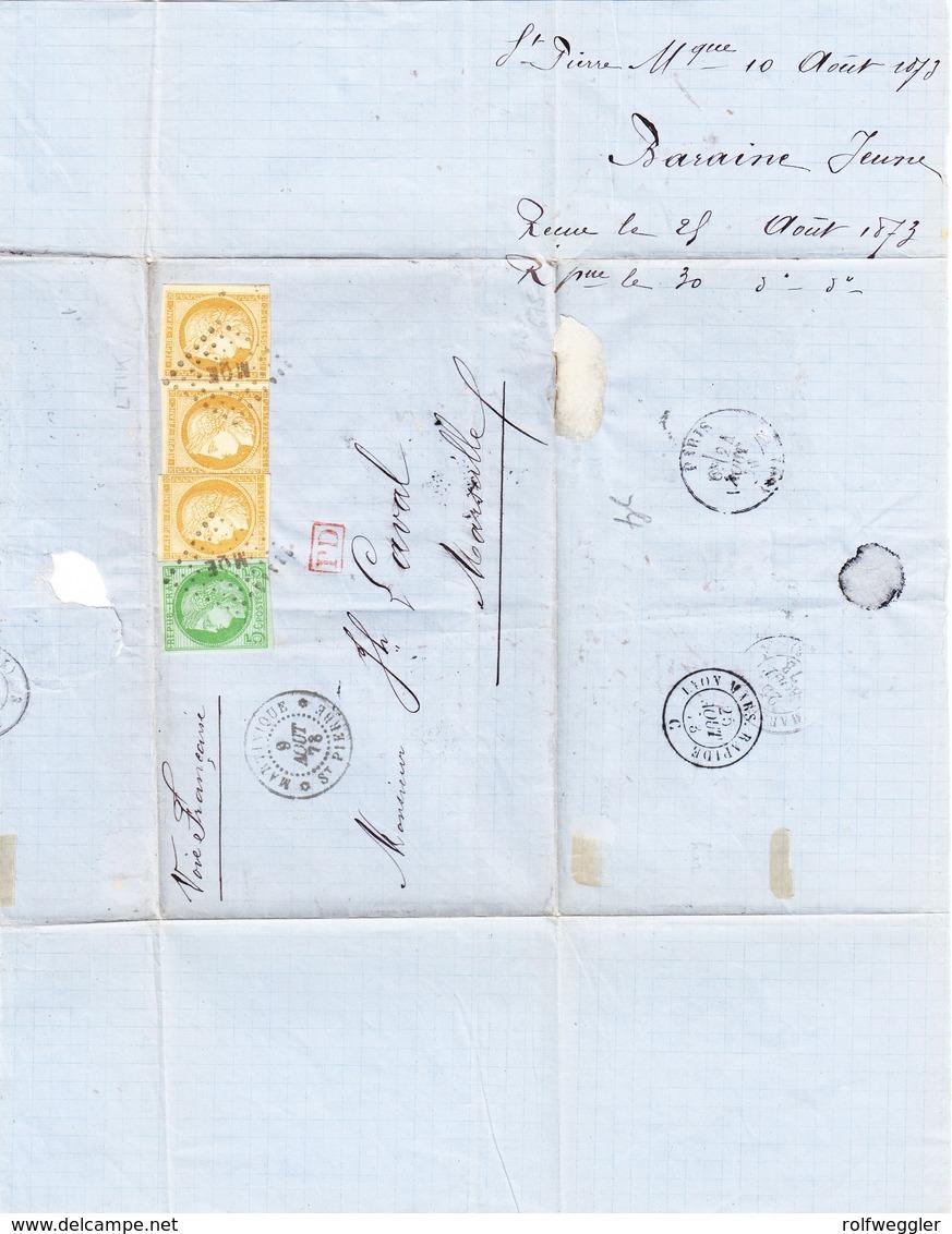 F ST PIERRE MARTINIQUE 9.8.1878 Brief O Inhalt Nach Marseille Mit 5c Und 15c (3) - Cérès
