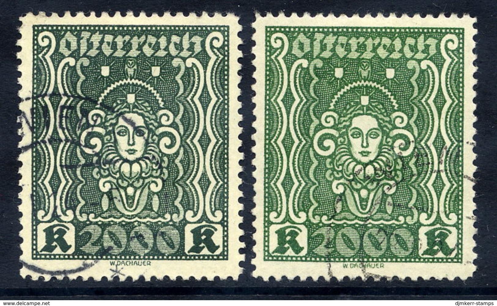 AUSTRIA 1922 Definitive 2000 Kr. In Both Shades Used.  Michel 405Aa-b - Oblitérés