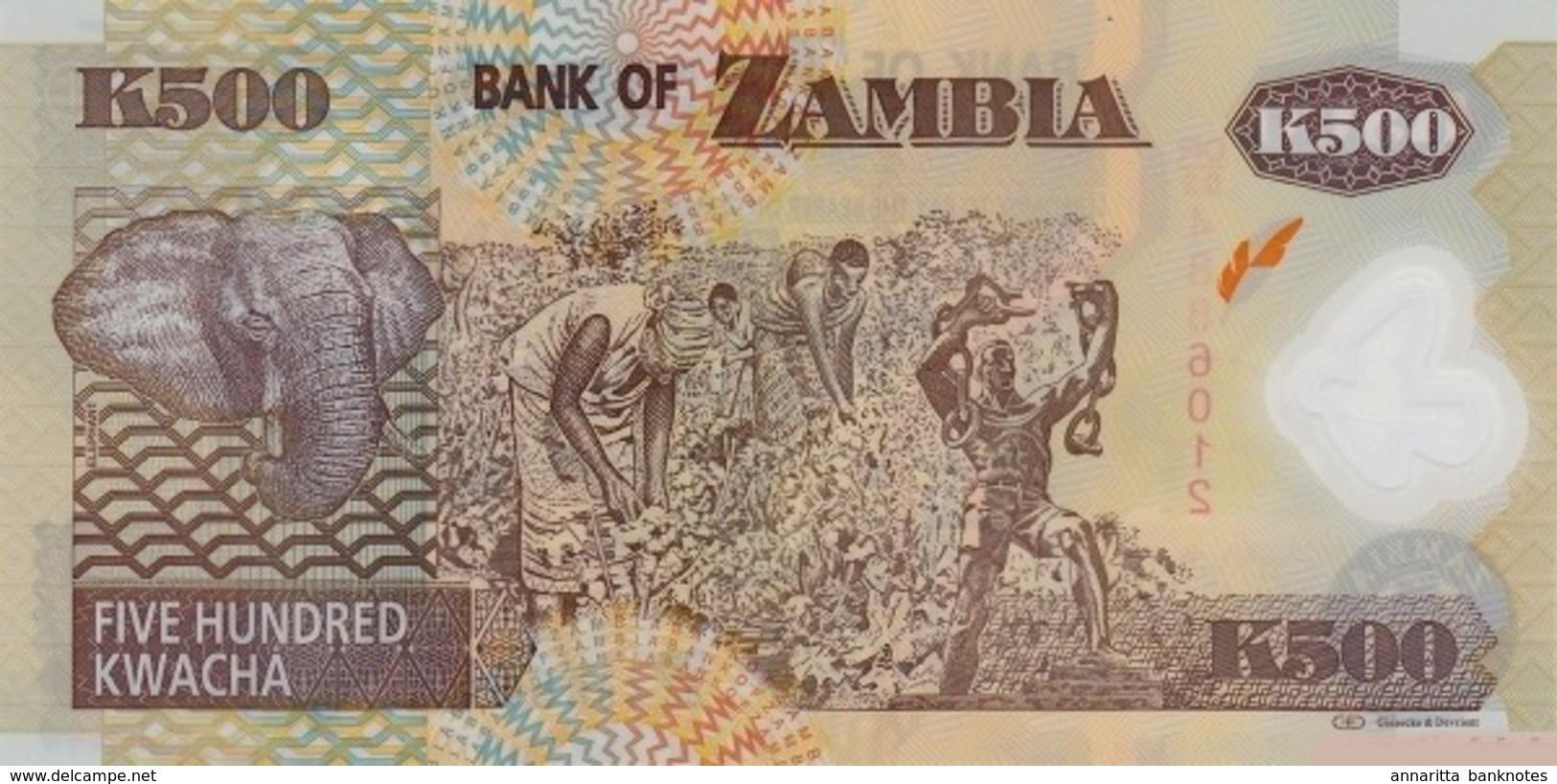 ZAMBIA 500 KWACHA 2011 P-43h UNC  [ZM145h] - Zambia