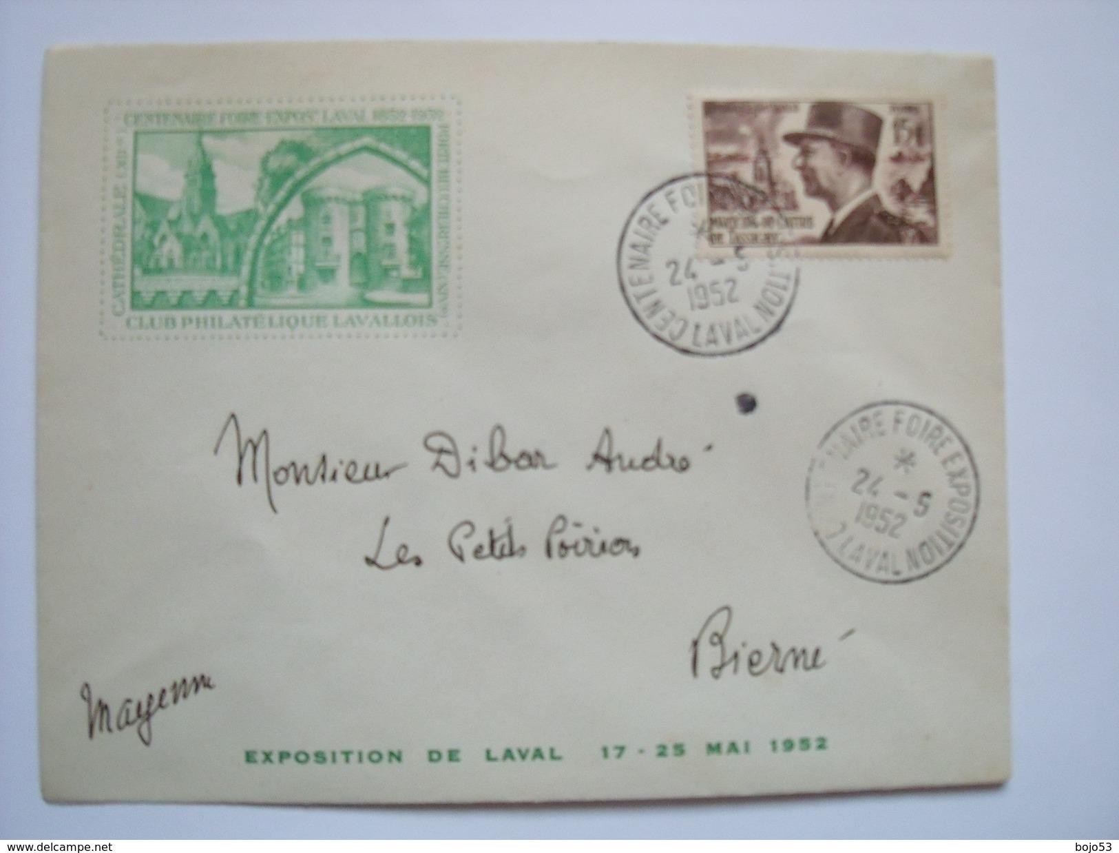 LAVAL - 53 -Centenaire Foire Exposition Du 17 Au 25 Mai 1952 - Oblitération Du 24-5-1952 - Marcophilie (Lettres)