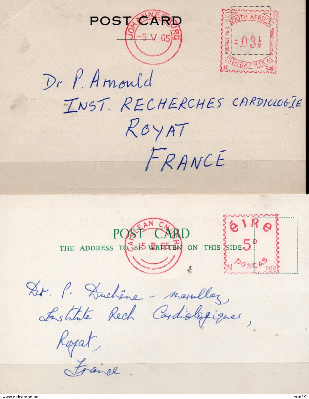 VGNETTES D'AFFRANCHISSEMENT...2 CARTES..1..AFRIQUE DU SUD ET 1 IRLANDE - Afrique Du Sud (1961-...)