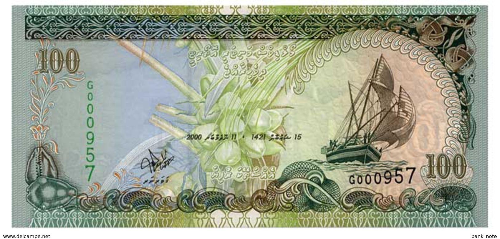 MALDIVES 100 RUFIYAA 2000 Pick 22 Unc - Maldives