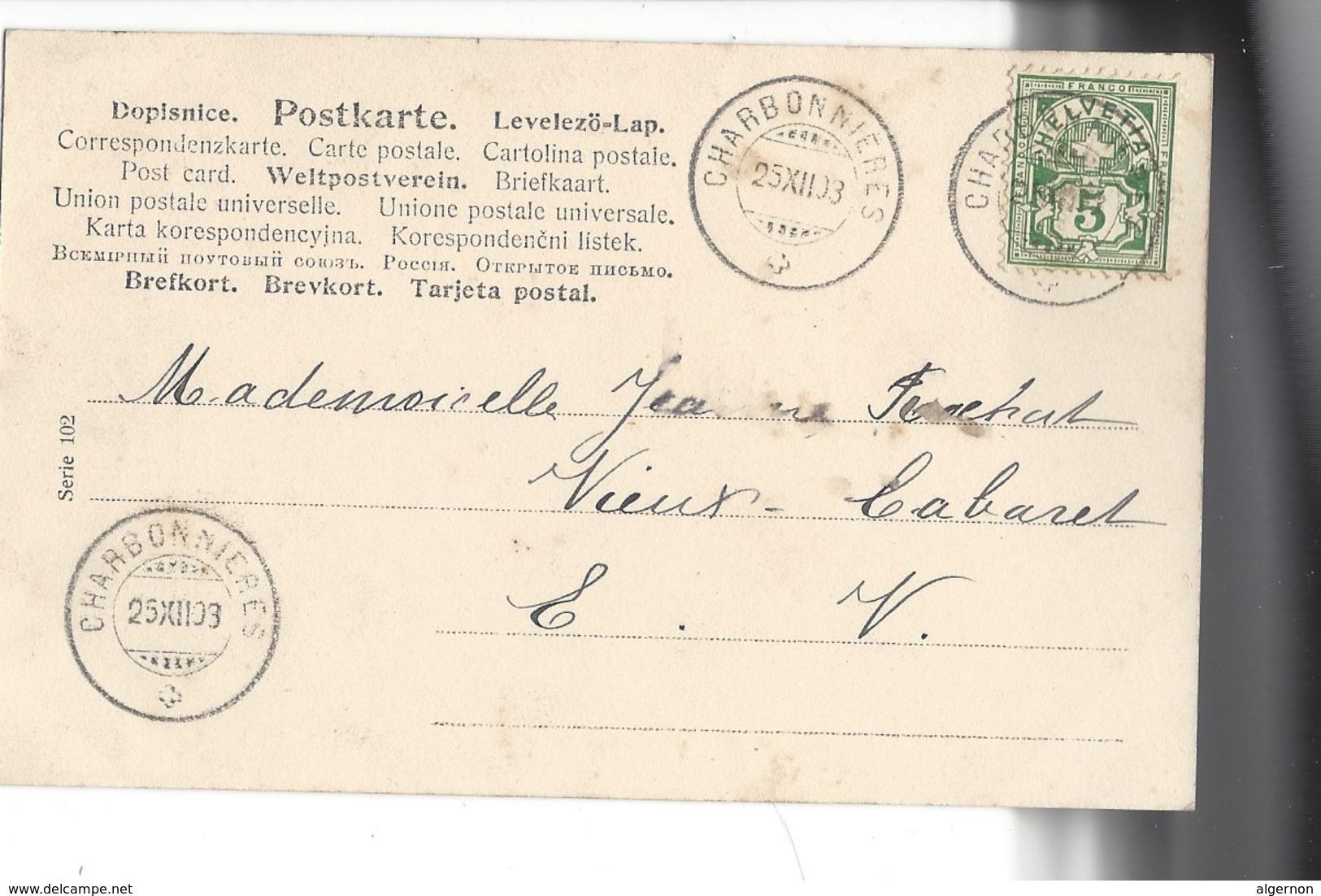 16087 - Joyeux Noël Ange Tirant Sur Cloche Village Et Sapins Carte Envoyée En 1903 - Altri