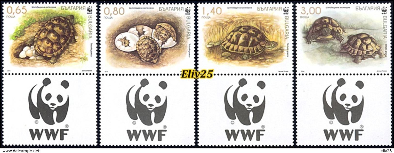 Bulgaria 2016, WWF Spur-thighed Tortoise - 4 V. & Tabs MNH (**) - W.W.F.