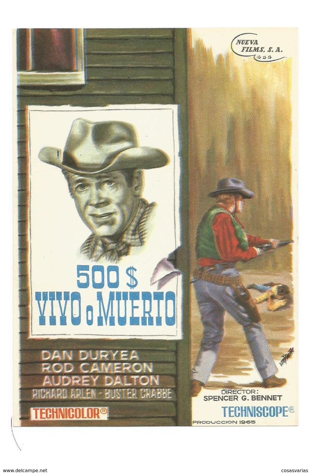 500 $ VIVO O MUERTO DAN DURYEA ROD CAMERON AUDREY DALTON - Programa Cine FILM PROGRAM  AFFICHE CINÉMA - Affiches & Posters