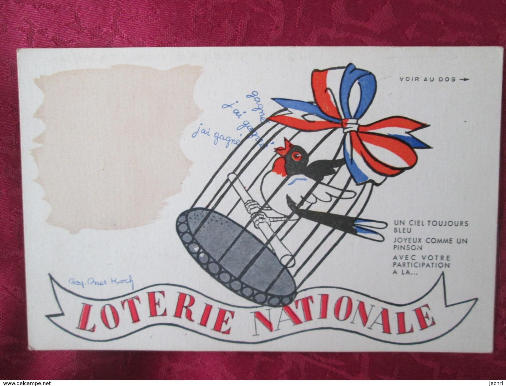 LOTERIE NATIONALE . OISEAU DANS UNE CAGE. CARTE BAROMETRIQUE - Cartes Postales