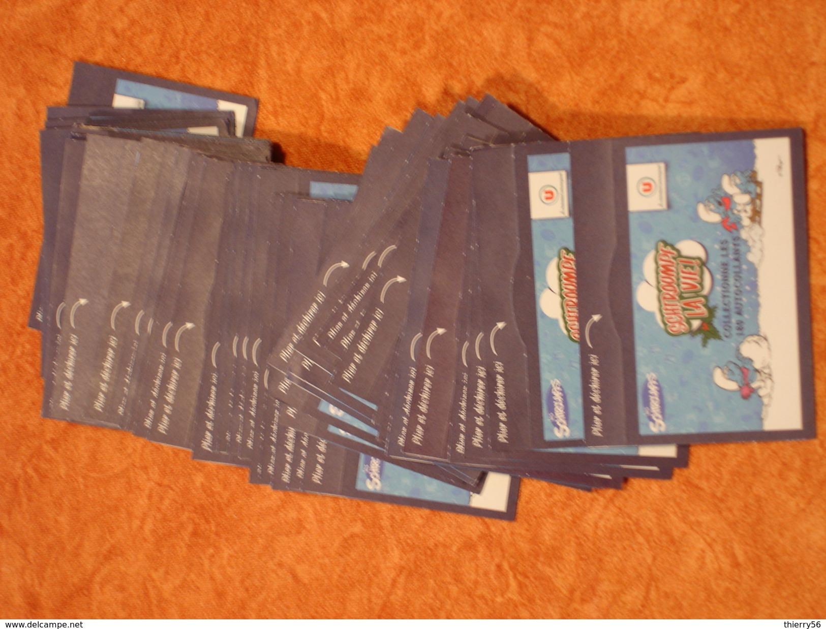 Les Schtroumpfs Et Super U - Cartes à Collectionner Et Autocollants - Lot De 51 Carnets De 4 Autocollants + 2 Cartes - Vieux Papiers