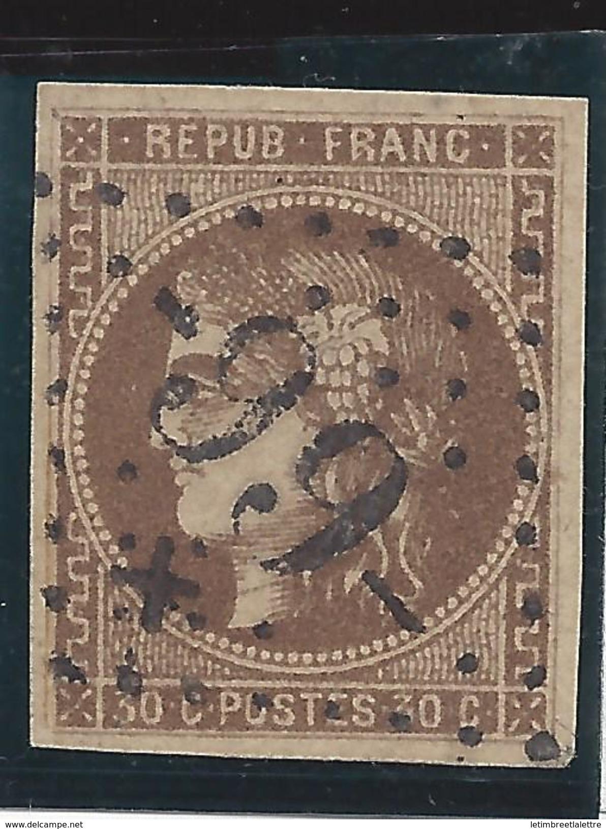 France Classique N° 47 Ob Gros Chiffre Refait Avec étoile - 1870 Bordeaux Printing