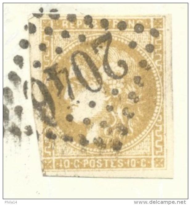 N° 43 CERES 10c BISTRE SUR LETTRE  LILLE NORD  POUR  FIVES  1871 - Marcophilie (Lettres)
