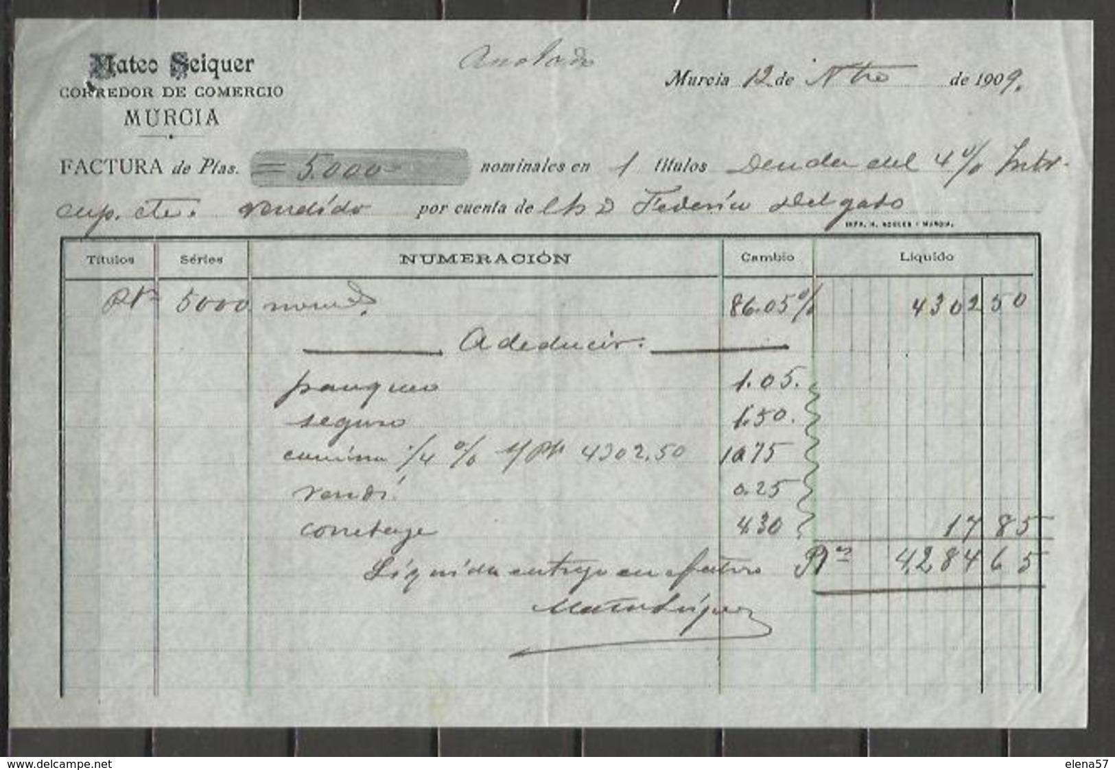 Q5043-DOCUMENTO MURCIA AÑO 1909 MATEO SEIQUER CORREDOR DE COMERCIO FEDERICO DELGADO CEHEGIN,DOCUMENTO MERCANTIL.PERFECTO - España