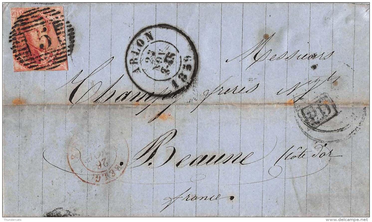 12A OP BRIEF 1859   BEAUNE FRANCE ARLON THIONVILLE PARIS A LYON STRASBOURG - 1858-1862 Médaillons (9/12)