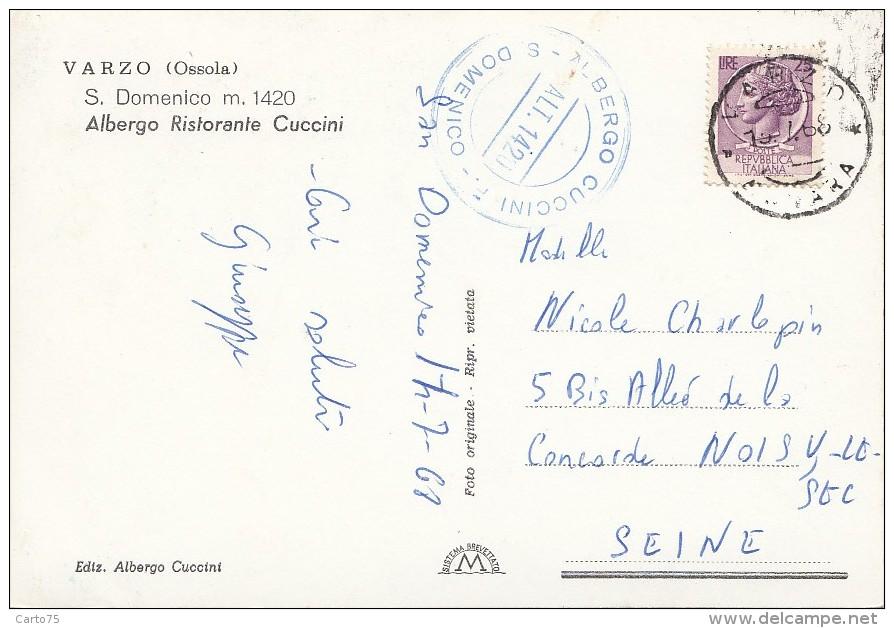Italie - Varzo - Ristorante San Domenico - Albergo Cuccini - 1965 - Cachet Albergo Cuccini - Verbania