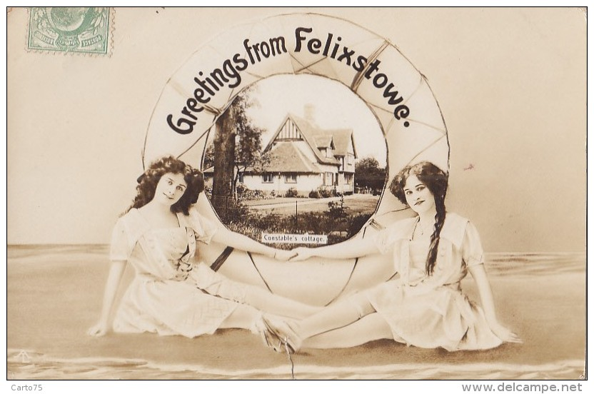 Royaume-Uni - Felixstowe - Greetings - Femme - Costume Bains Bas - Constable's Cottage - 1910 - Angleterre