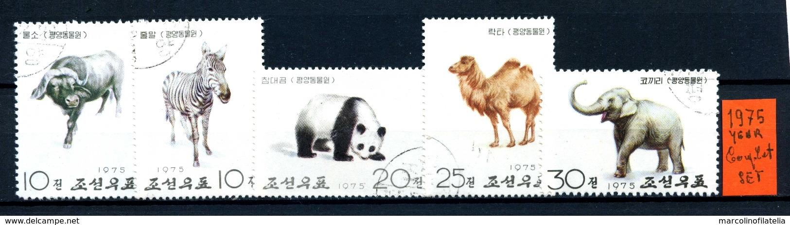 KOREA Del NORD - Year 1975 - COMPLET SET - Animali - Timbrati - Stamped. - Corea Del Nord