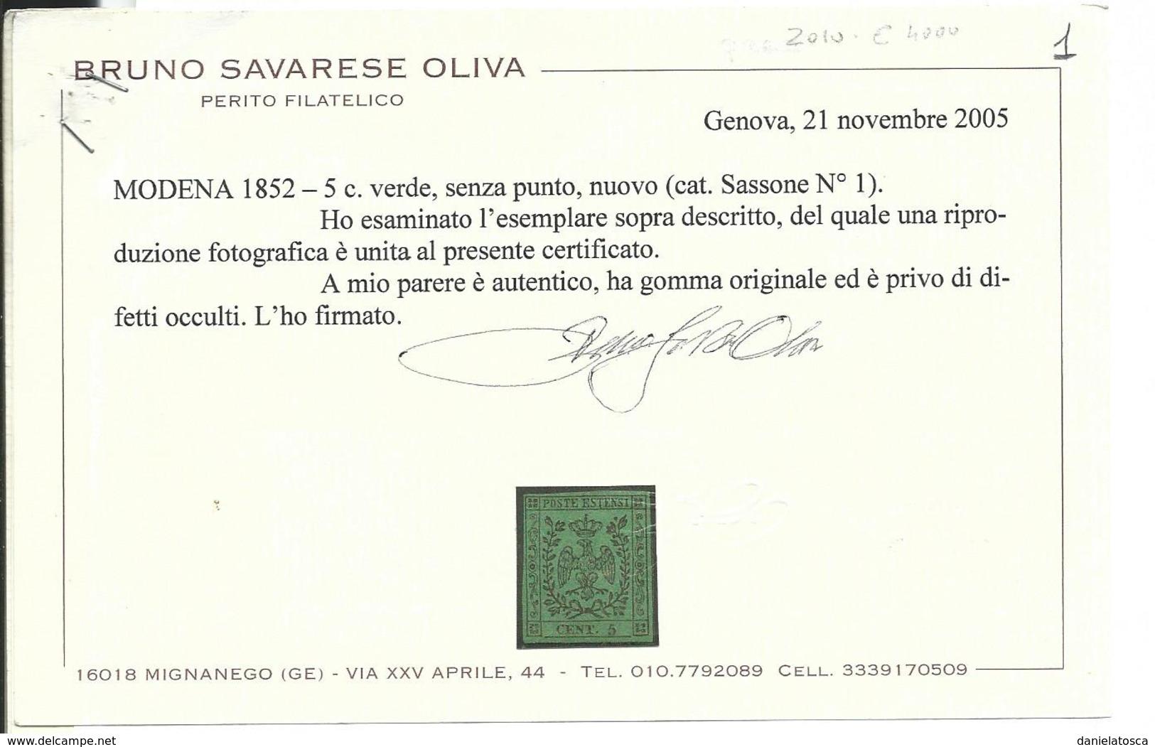 Modena 1852 Sassone 1 - Nuovo Illinguellato - Certificato Oliva - (6500 E.sass) - Modena