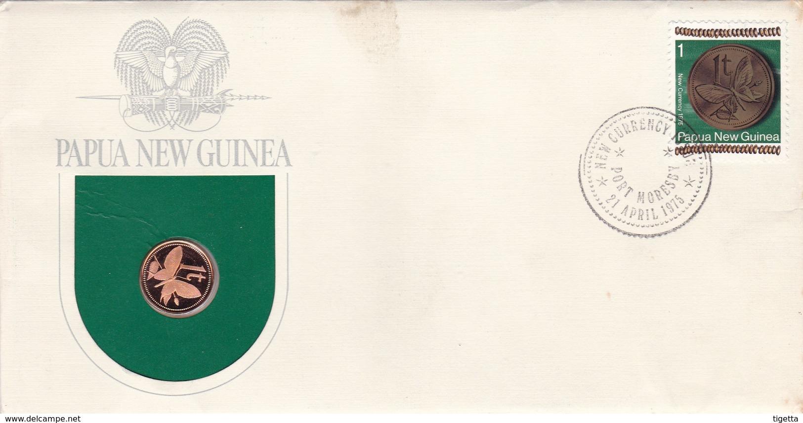 PAPUA NEW GUINEA SERIE MONETE CON ANNULLO PAPUA NUOVA GUINEA ANNO 1975 - Papouasie-Nouvelle-Guinée