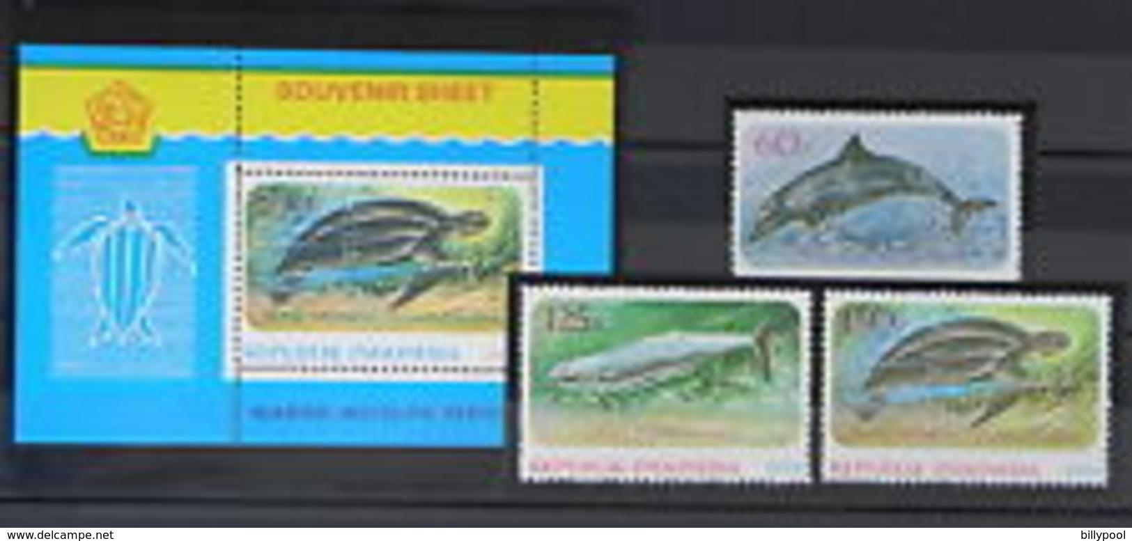 INDONESIA  1979 Marine Animals, Dolphins, Turtles  3v.+SS  Perf. - Marine Life
