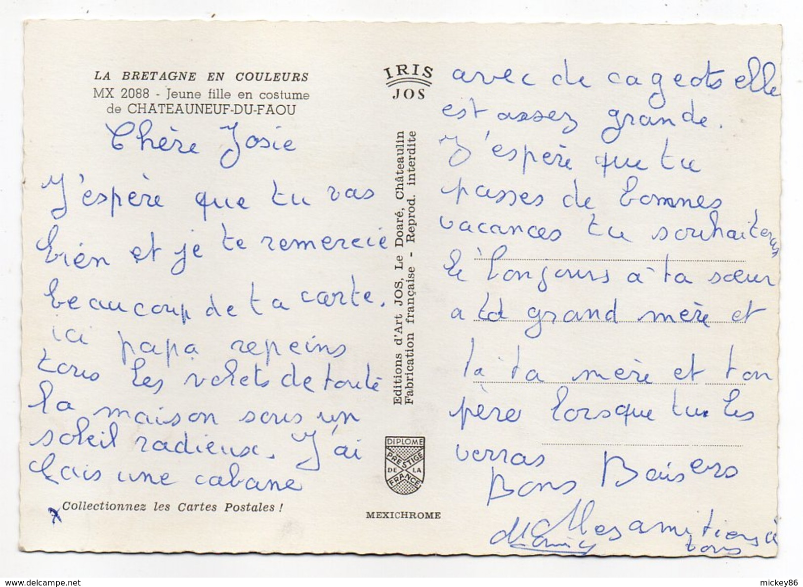 CHATEAUNEUF DU FAOU--Jeune Fille En Costume(animée,coiffe,folklore) Cpsm 15 X 10 N°2088 éd  Jos....à Saisir - Châteauneuf-du-Faou
