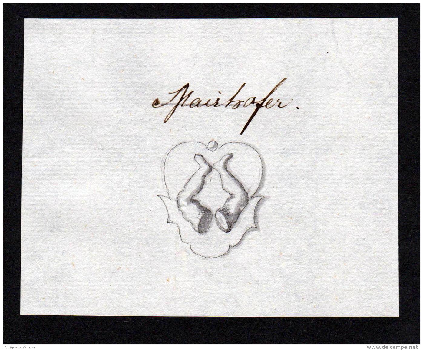 """""""Mairhofer"""" - Mairhofer Handschrift Manuskript Wappen Manuscript Coat Of Arms - Stiche & Gravuren"""
