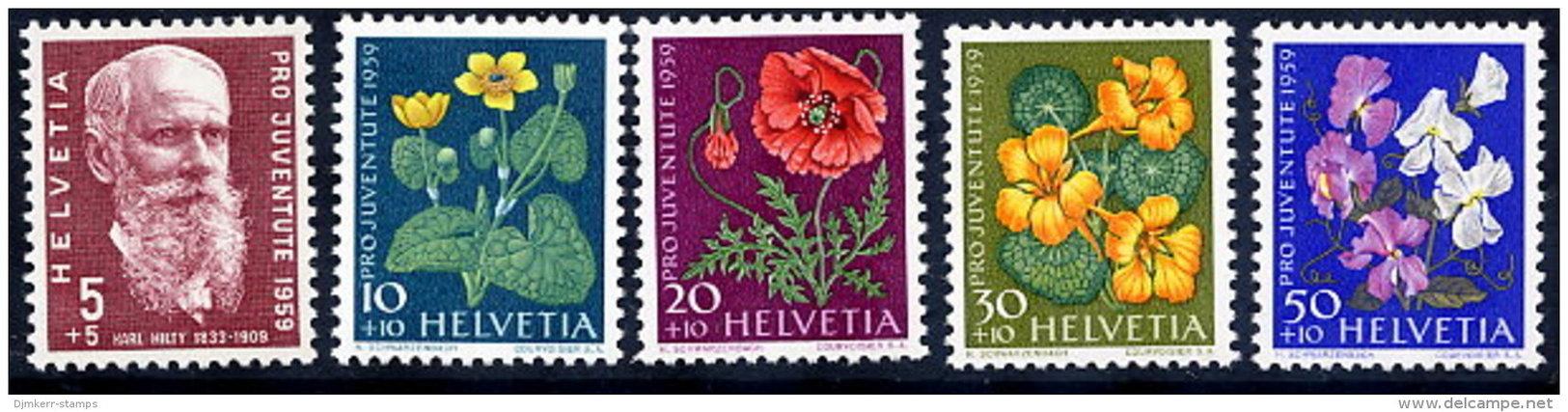 SWITZERLAND 1959 Pro Juventute Set  MNH / **.  Michel 687-91 - Switzerland