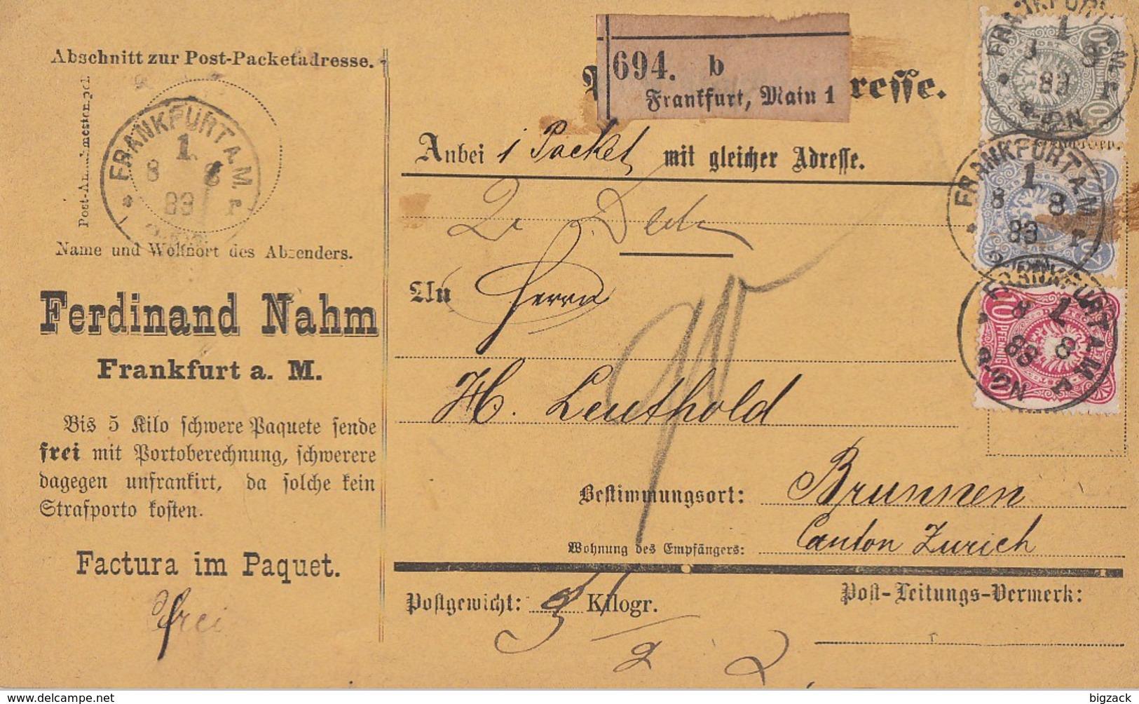 DR Paketkarte Mif Minr.41,42,44 Frankfurt 8.8.88 Gel. In Schweiz - Briefe U. Dokumente