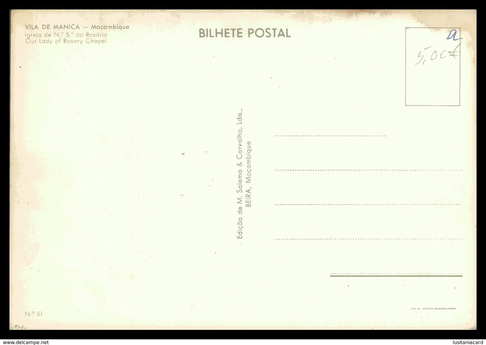VILA DE MANICA - Igreja De Nª.Sª. Do Rosario ( Ed. M. Salema & Carvalho Lda Nº 51)  Carte Postale - Mozambique