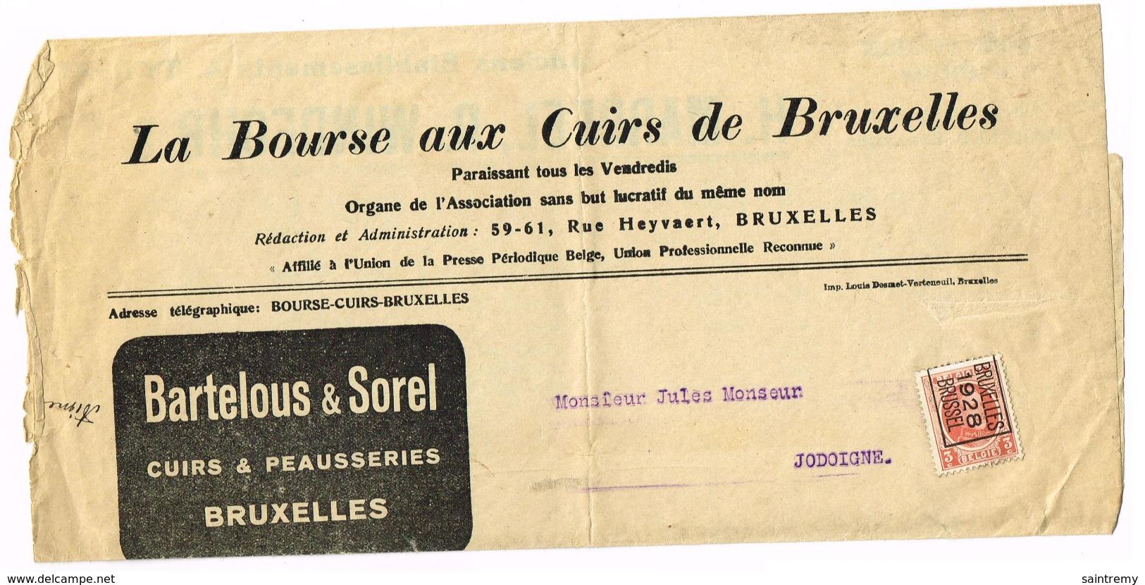 Préo Typo De Bruxelles En 1928 Manchon De Pub Pour La Bourse Aux Cuirs De Bruxelles (J62) - Typos 1922-31 (Houyoux)