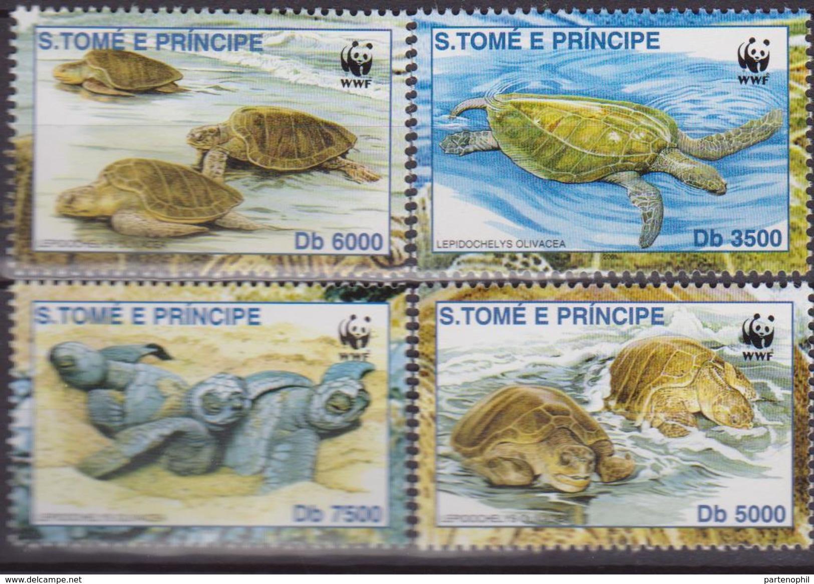 S.TOME E PRINCIPE Wwf Tartarughe Turtles4 V. Mnh - W.W.F.