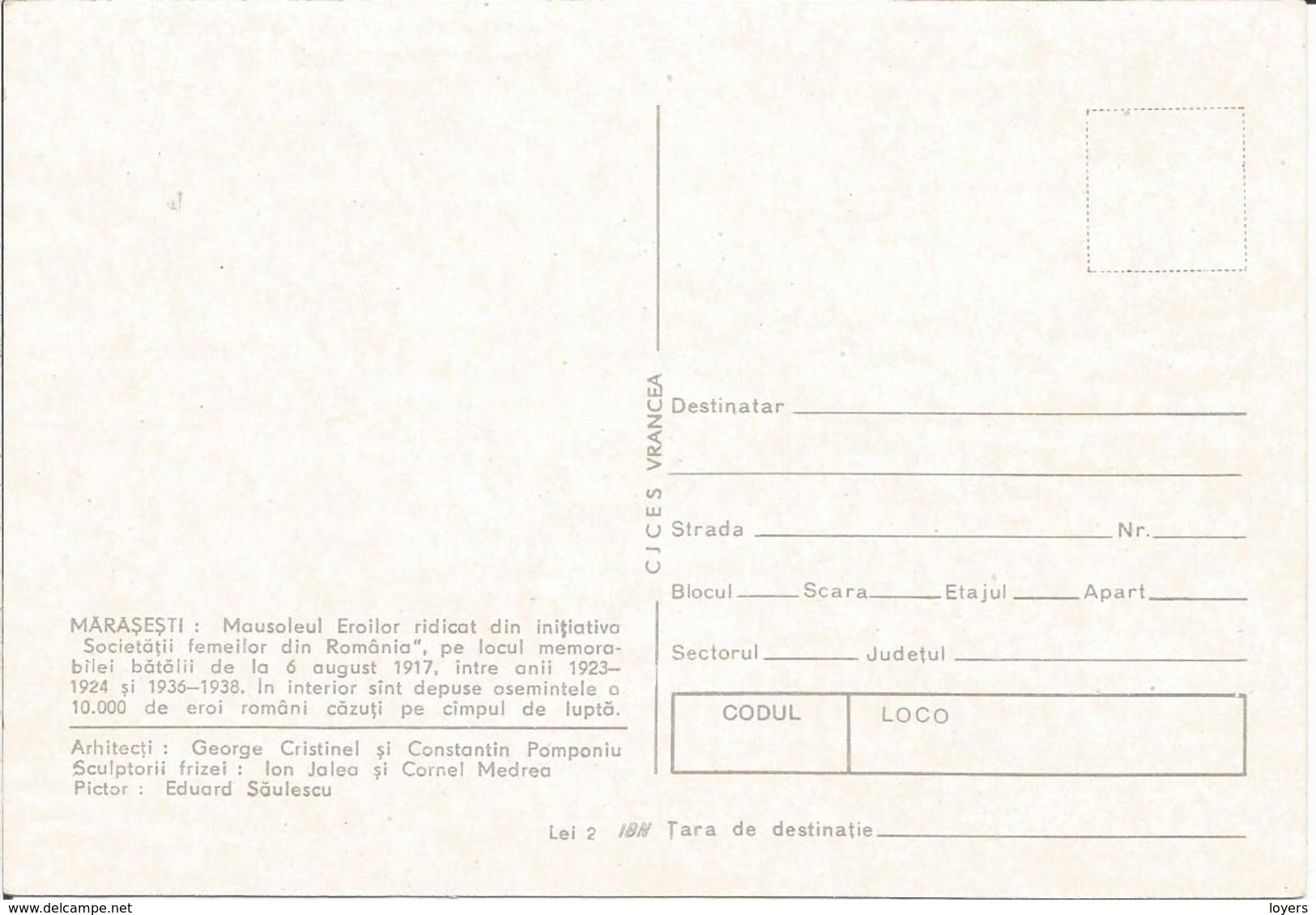 MARASESTI......  (scan Verso) - Moldavië