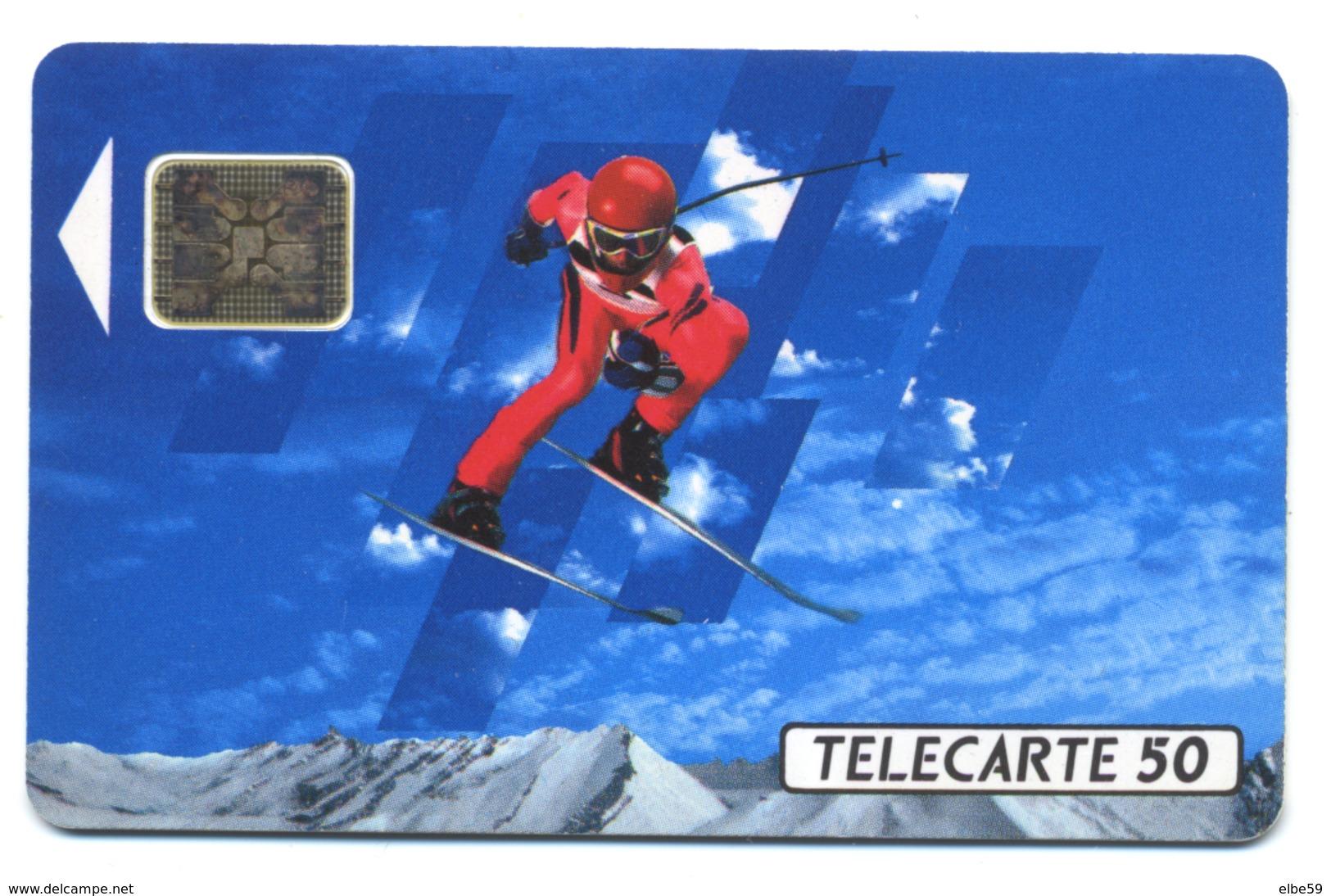 France, Telecom, Telecarte 50, Thème, Jeux Olympiques, Albertville 92, Skieur - Jeux Olympiques