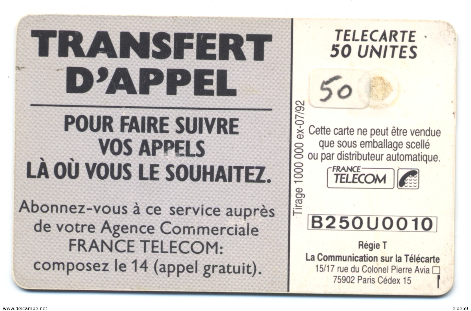 France, Telecom, Telecarte 50, Thème, Téléphones, Transfert D'appel, Plage - Telefoni