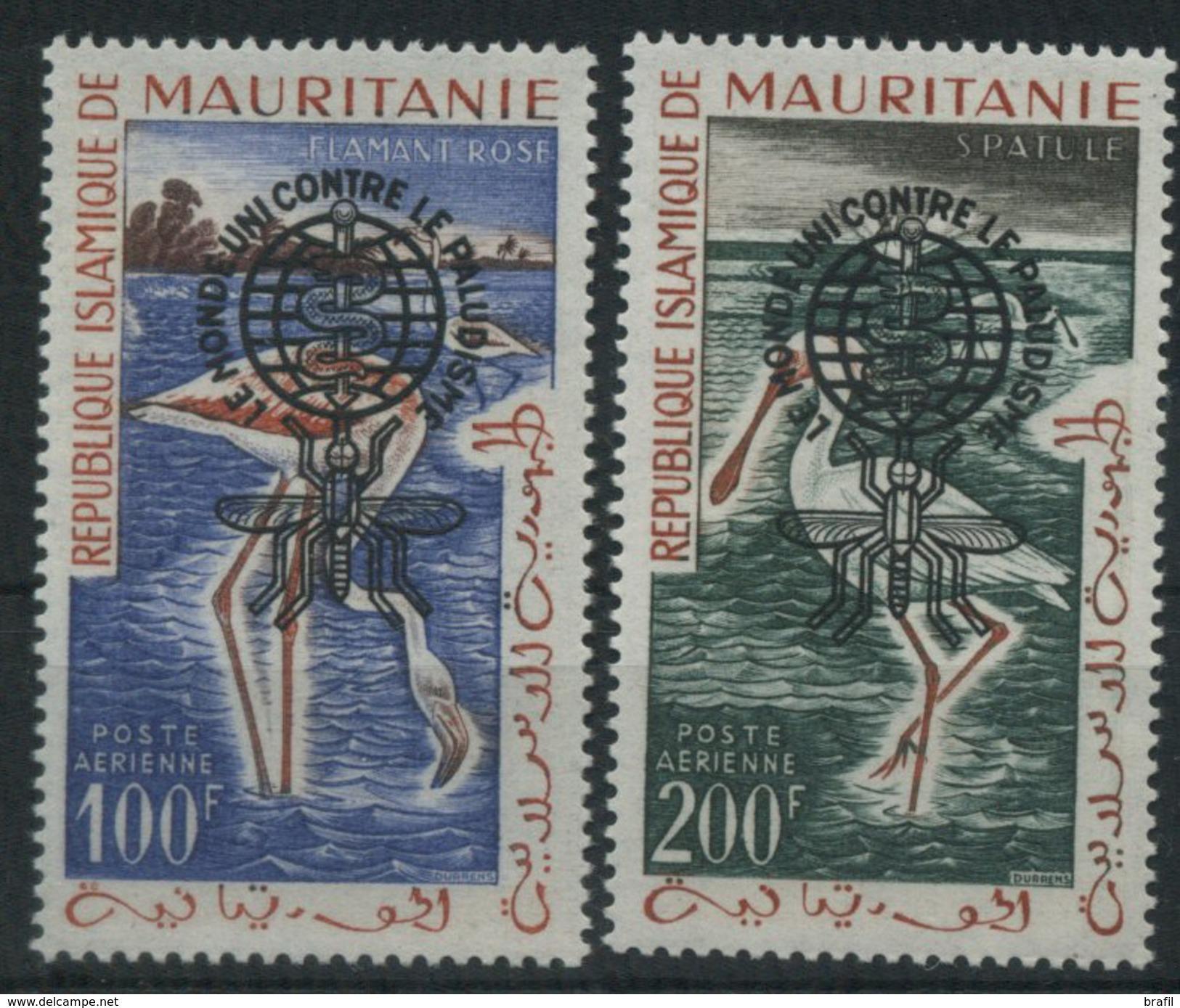 19621 Mauritania, Uccelli Posta Aerea Sopratampata, Serie Nuova (**) - Mauritania (1960-...)