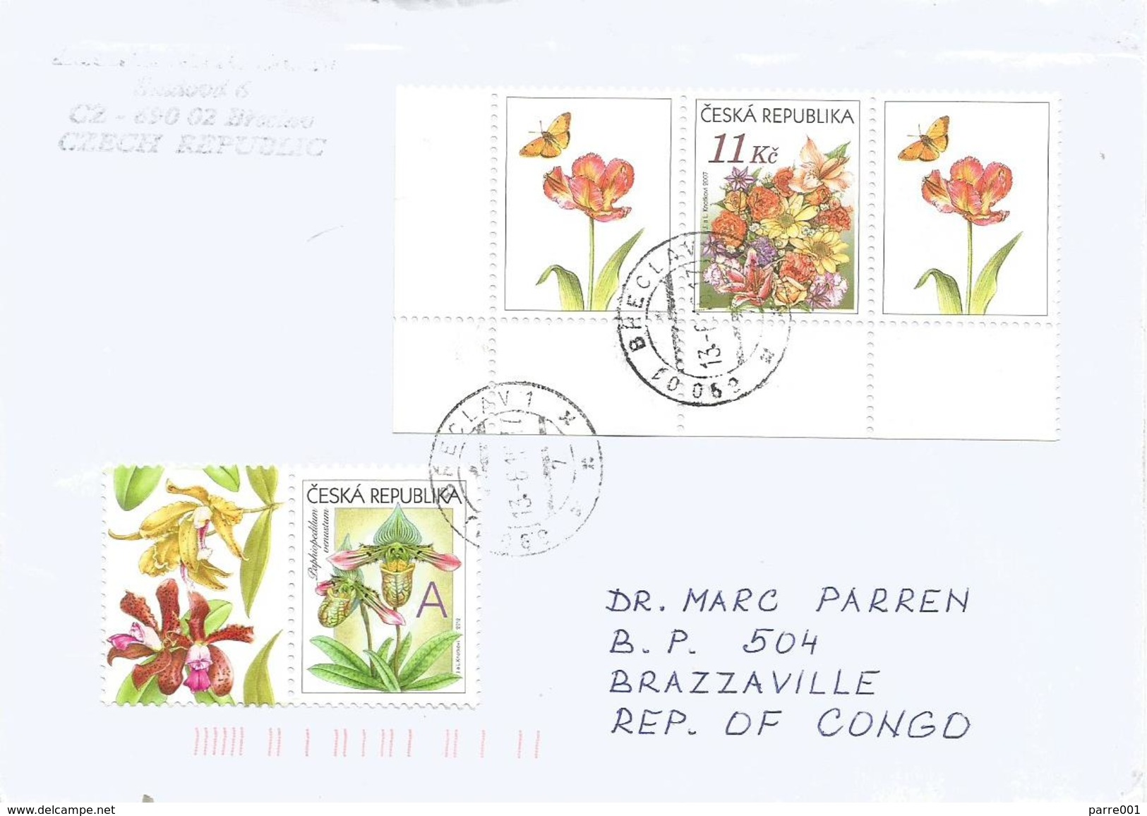 Czech Republic 2016 Breclav Orchid Paphiopedilum Venustum Tulip Butterfly Cover - Brieven En Documenten