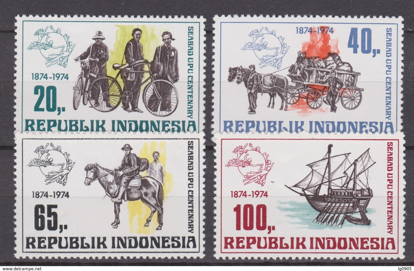 Indonesia Indonesie 799-802 MNH 100 Jaar Wereld Post Vereniging 1974 ; NOW MANY STAMPS INDONESIA VERY CHEAP - Indonesië