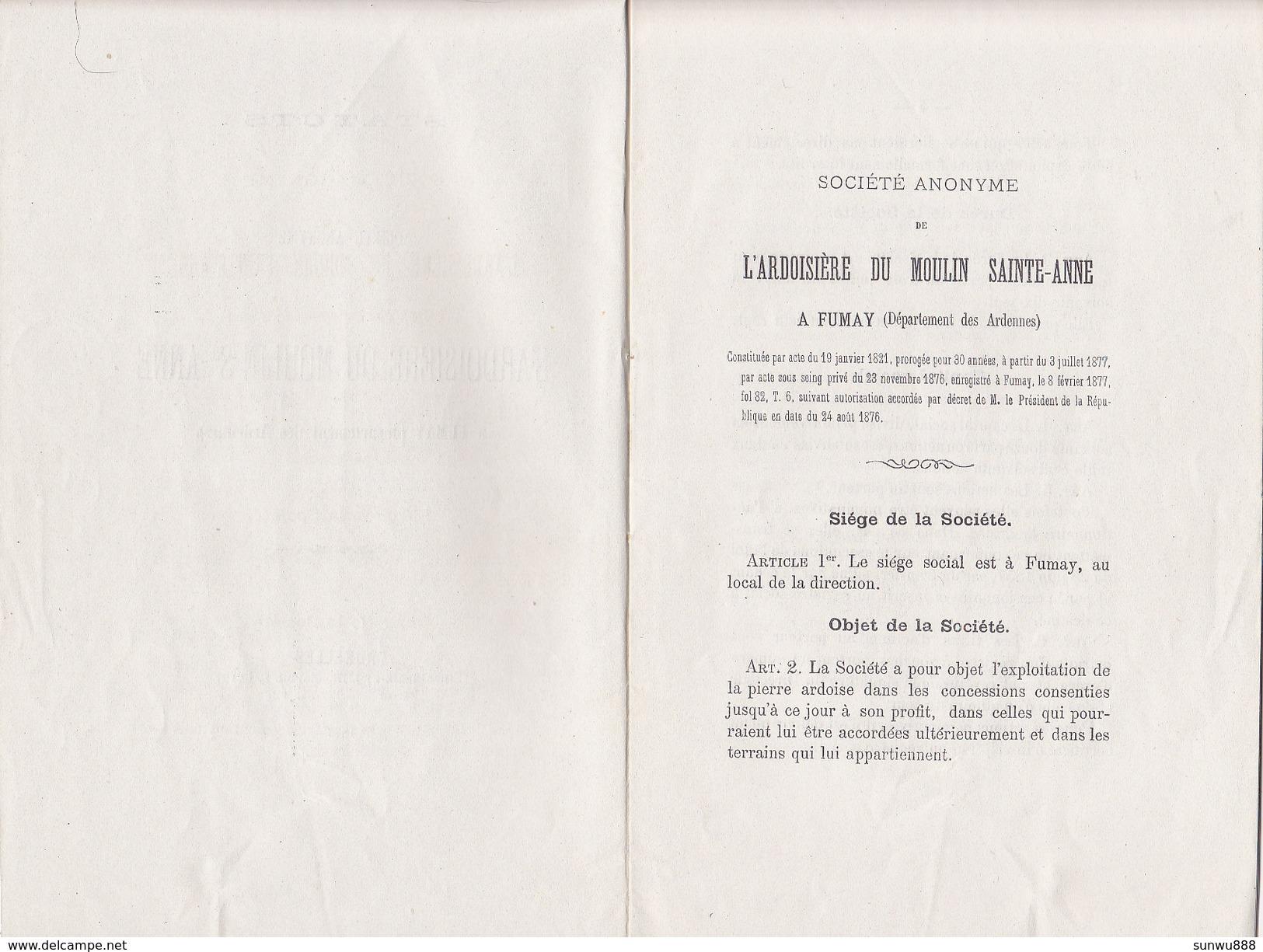 Fumay  -  Statuts De La SA L'Ardoisière Du Moulin Ste Anne 1877 (livret 16 Pages) - France
