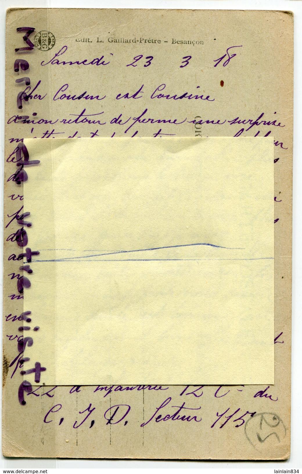 - 1450 -  Vallée  De La Consolation,  Belvédère De La Roche Du Prêtre, Voyagé Dans Enveloppe, écrite Mars 1918, BE, Sca. - France