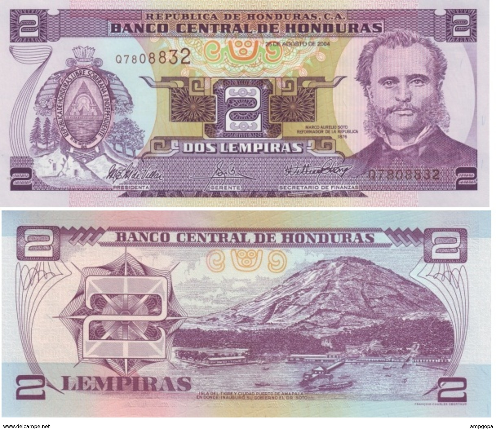 Honduras 2 Lempiras 2004 Pick 80A.e UNC - Honduras