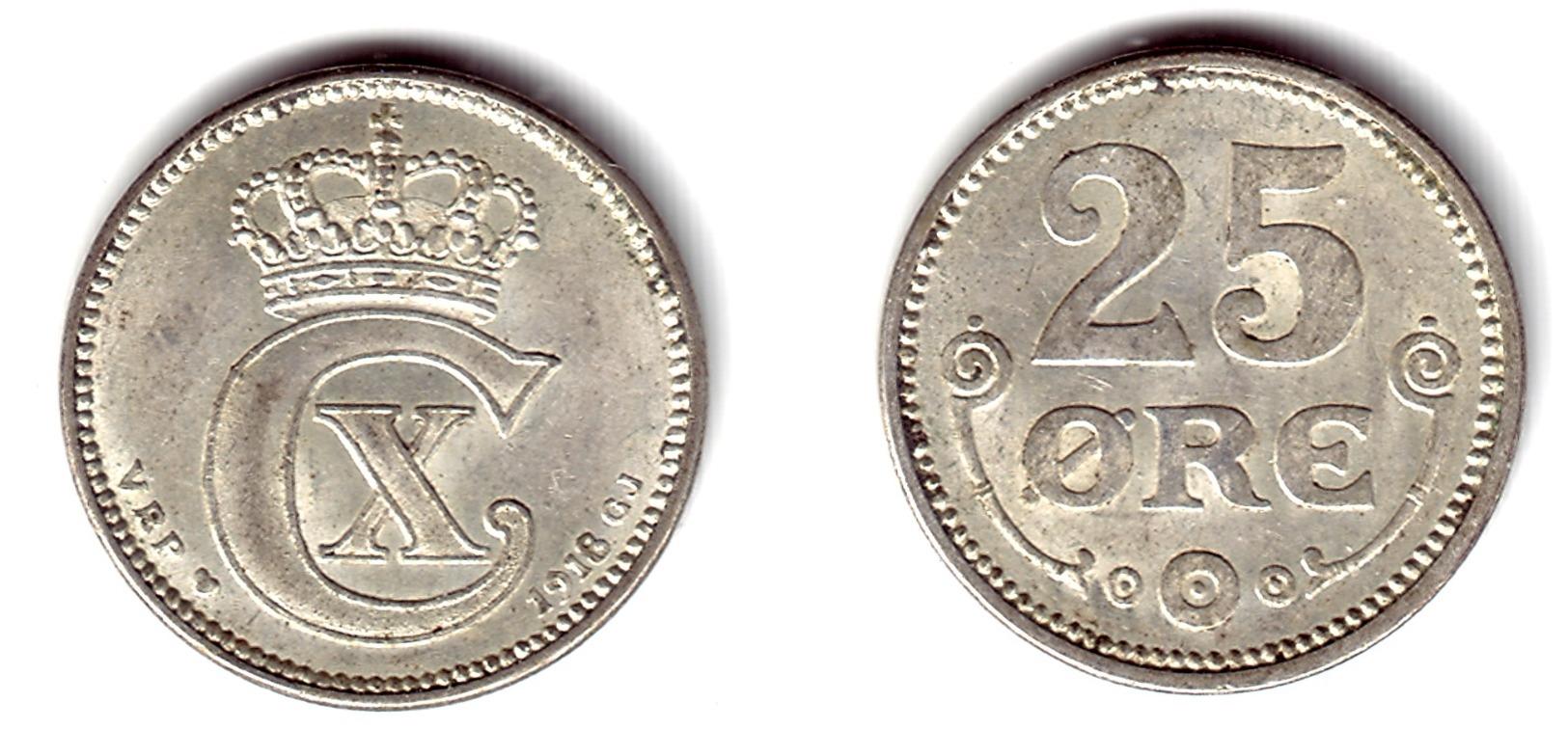 DENMARK, Christian X - 25 Ore 1918 - KM#815.1  Unc- - Dänemark