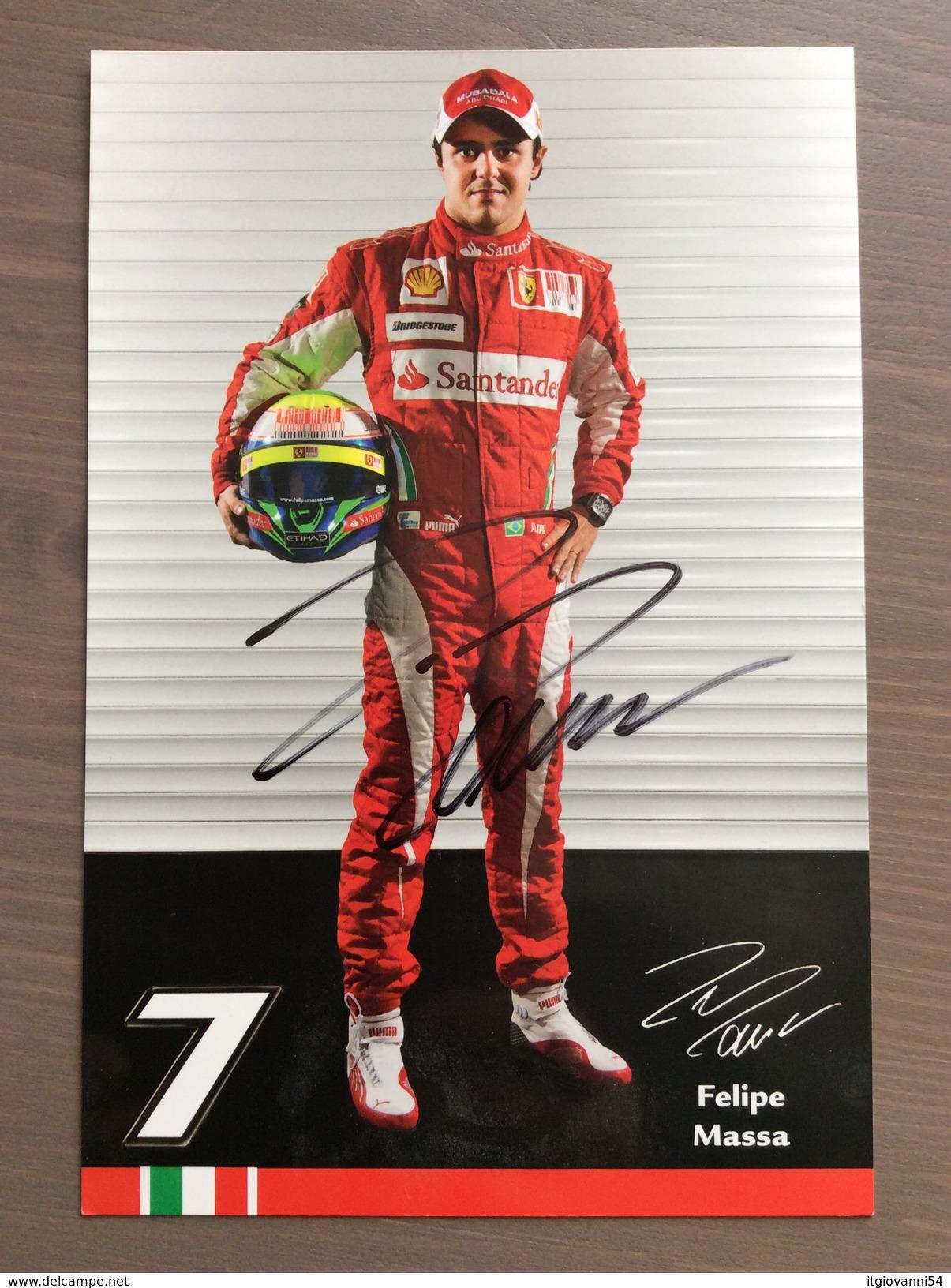 Cartoncino Di Presentazione Felipe Massa Pilota F1 Ferrari CON AUTOGRAFO ORIGINALE - Grand Prix / F1