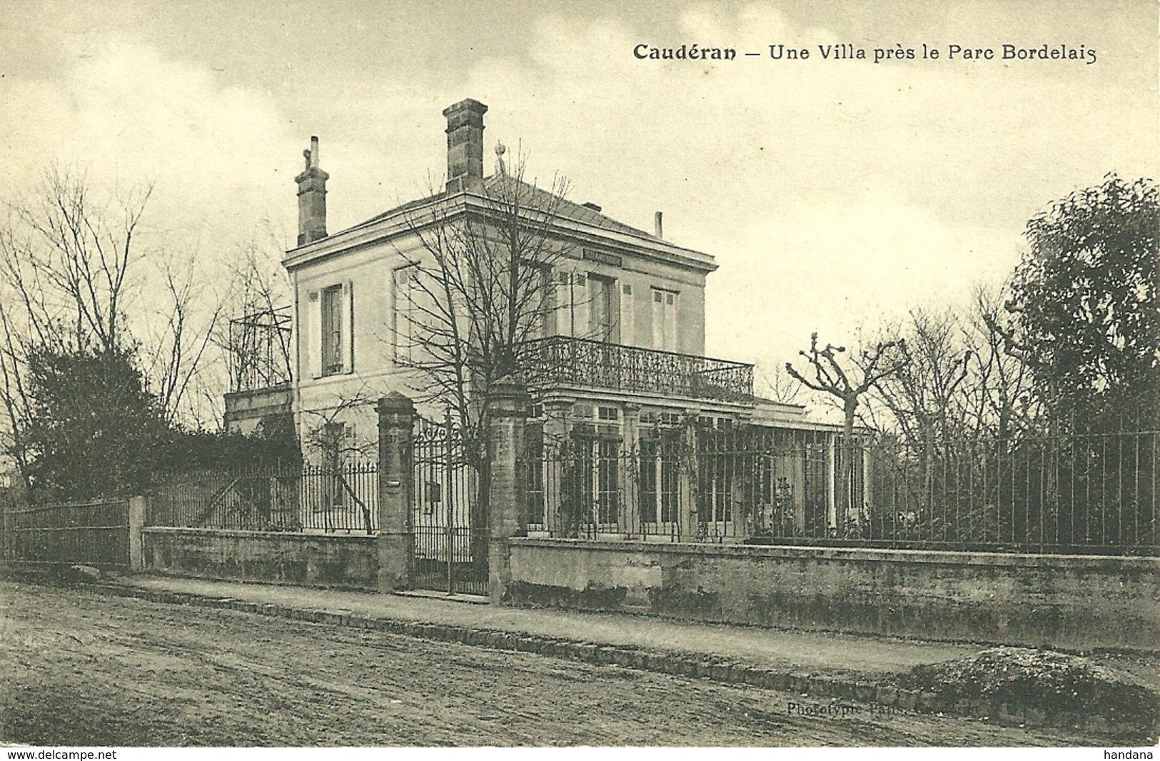 33 GIRONDE BORDEAUX CAUDERAN VILLA PRES PARC BORDELAIS  1906 JOLI PLAN A VOIR - Bordeaux