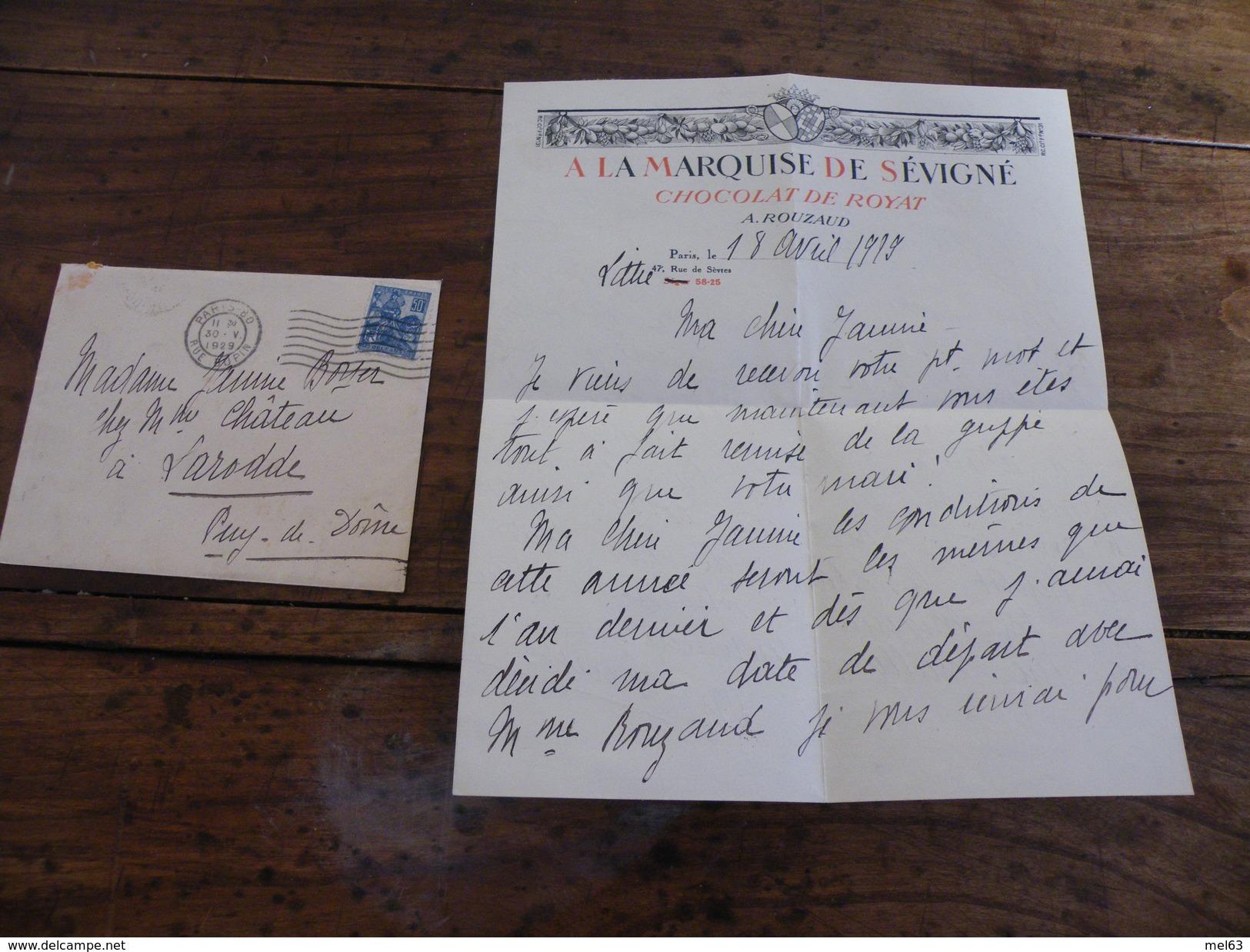 A410. Facture Ancienne & Timbrée.A LA MARQUISE DE SEVIGNE.CHOCOLAT DE ROYAT.à Mme Jeanine BOYER à LARRODE.. 1929 - Alimentaire