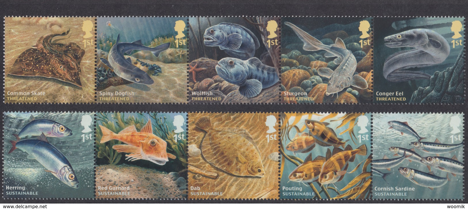 GB ~ 2014 ~ Sustainable Fish ~ SG 3609-3618 ~ MNH - 1952-.... (Elisabetta II)