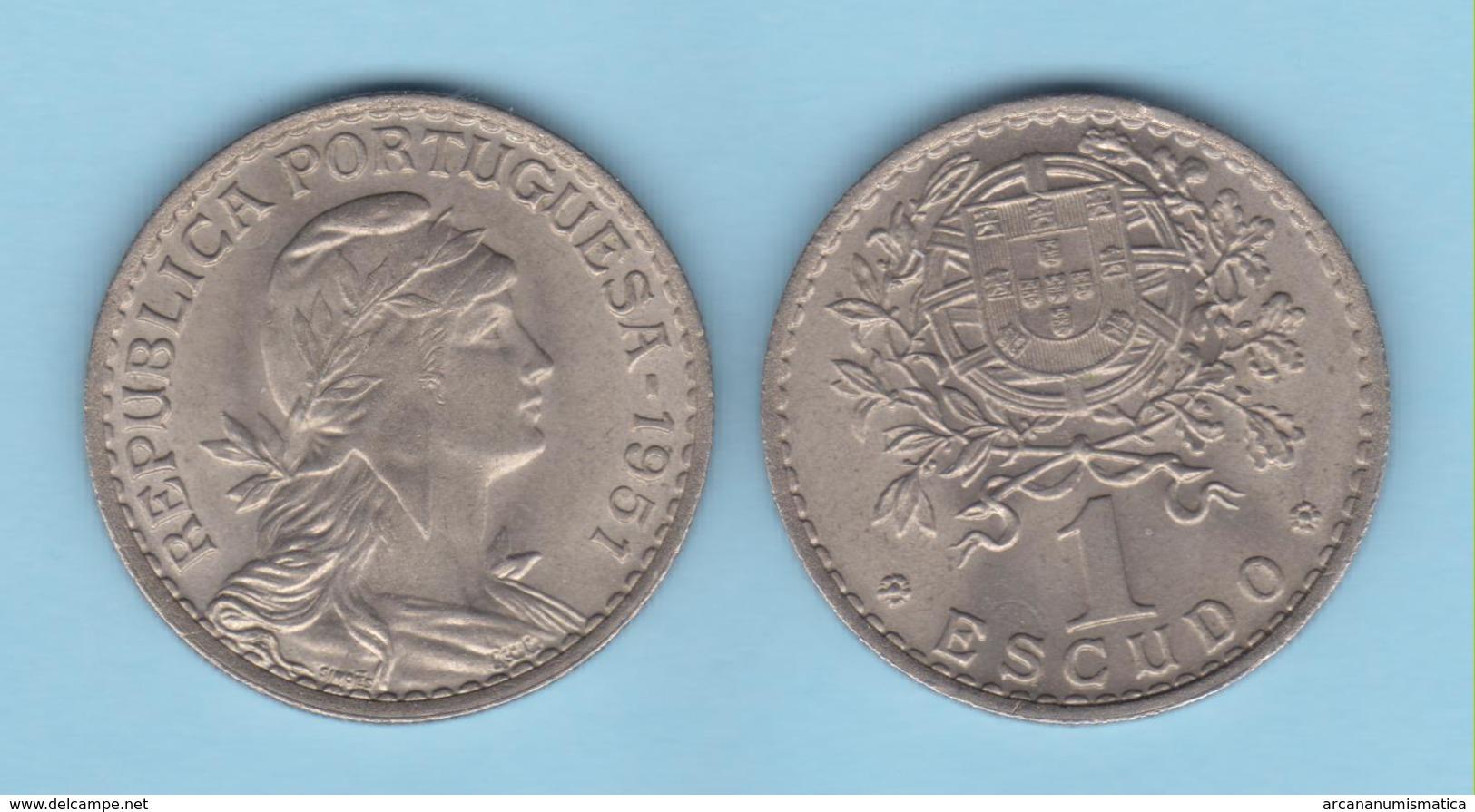 PORTUGAL  1 ESCUDO 1.951  Cu Ni/ALPACA  KM#578   SC/UNC  T-DL-12.018 - Monedas & Billetes