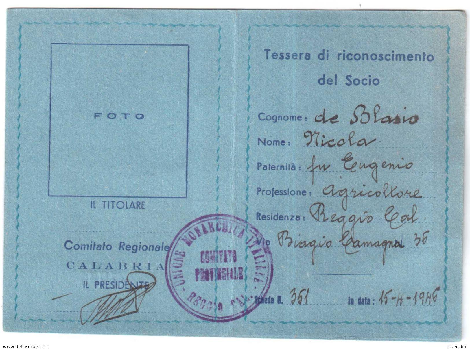 TESSERA UMI UNIONE MONARCHICA ITALIANA ANNO 1946 ORIGINALE - Non Classificati