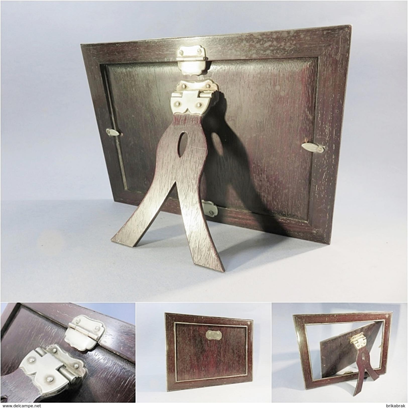 ~ CADRE SUR CONSOLE EN BOIS PRECIEUX ET ARGENT - Cadre Décoration Tableau - Autres Collections