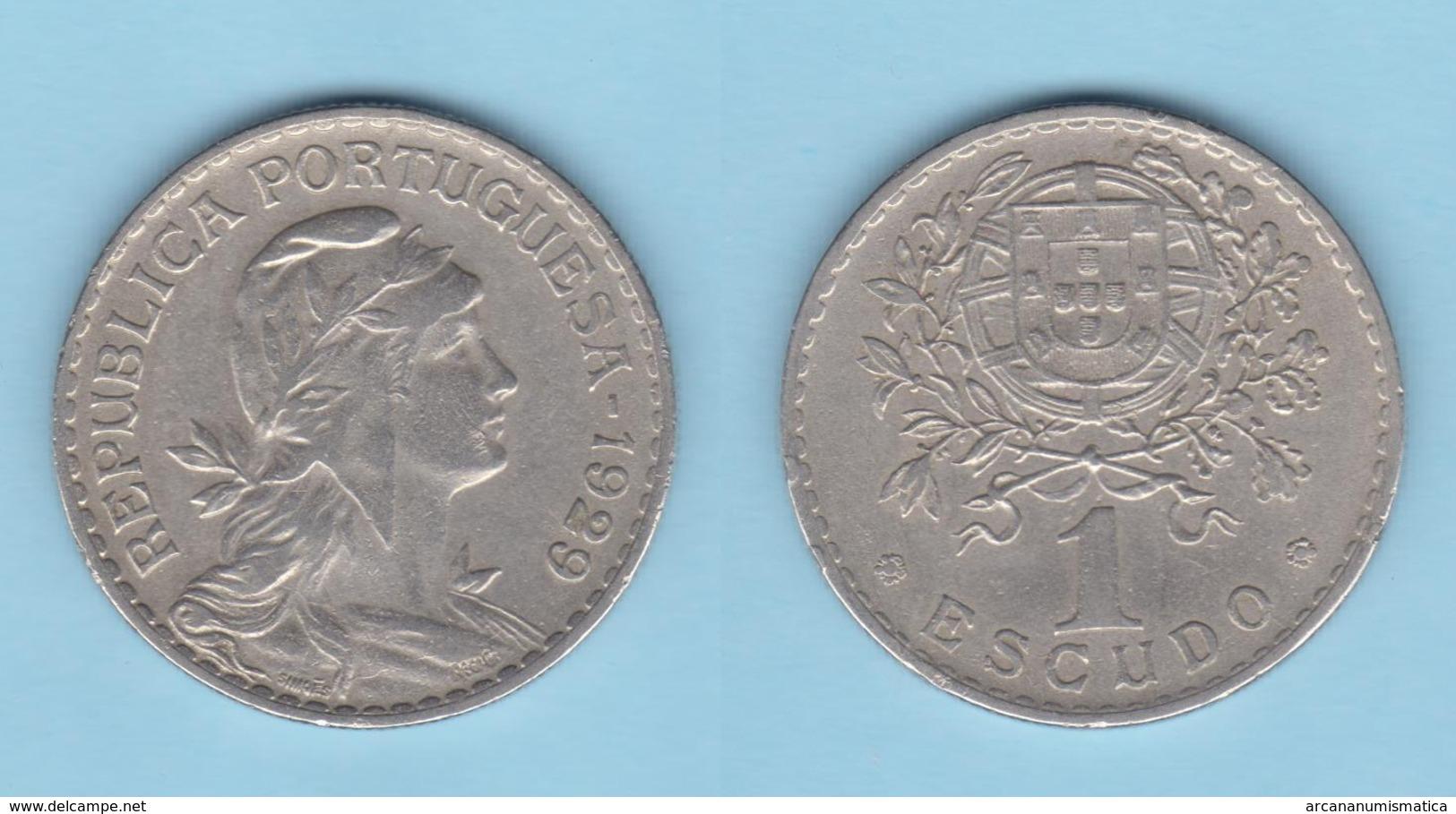 PORTUGAL  1 ESCUDO 1.929  Cu Ni/ALPACA  KM#578   MBC/VF DL-12.027 - Monedas & Billetes