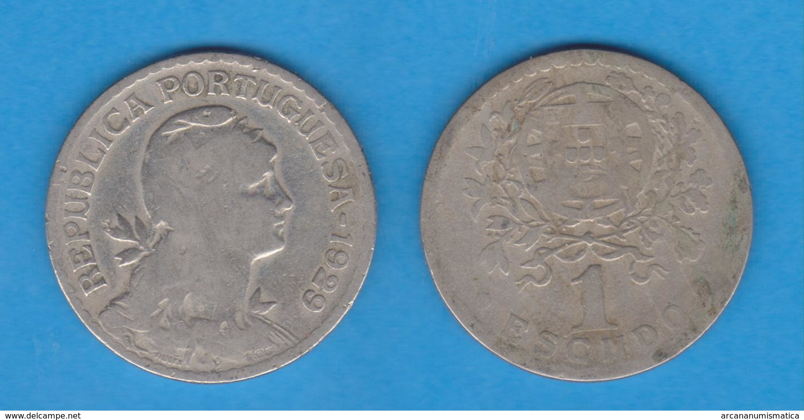 PORTUGAL  1 ESCUDO 1.929  Cu Ni/ALPACA  KM#578   BC/MBC  F/VF   T-DL-12.028 - Monedas & Billetes
